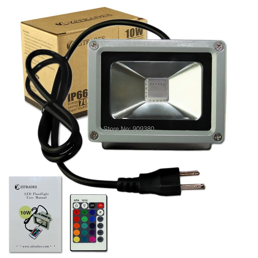 10W High quality RGB Waterproof LED FloodLight 16 Different Color Tones with US 3-Plug for Outdoor Hotel Garden flood light(China (Mainland))