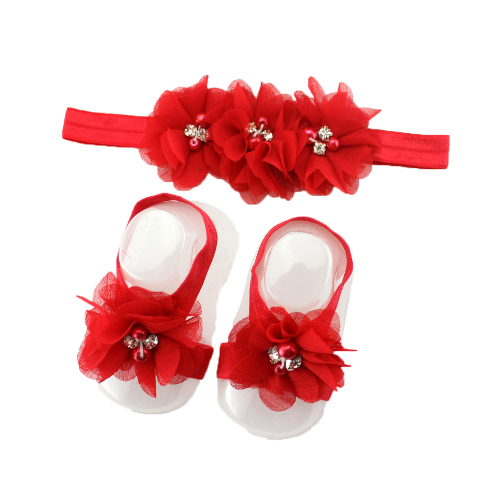 Retail New 2015 Newborn baby flower headband barefoot sandal sets satin flower hair accessories for Photography props(China (Mainland))