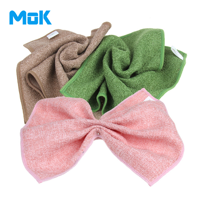 6 Pieces Bright Silk Fabric Square Cleaning Cloth 30x30cm Super Absorption Kitchen Washing Towels Glass Dish Accessories(China (Mainland))