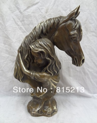 """wang 000910 13"""" Chinese Bronze Art Stubborn Woman Belle Hold Horse Neck Copper Head Statue(China (Mainland))"""