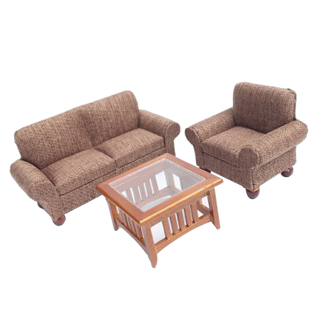 1/12 Scale Dollhouse Miniature Furniture Living Room Couch Sofa Table Set Black