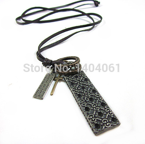 Genuine Leather Necklace Crossing Necklace Cowboy Pendant Punk Vintage Charm Jewelry Christmas Gifts(China (Mainland))