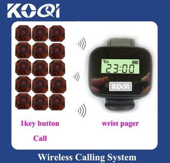 Top popular Wireless paging system;15pcs of table bell and 1 pcs of wrist watch reciever ;DHL freeshipping