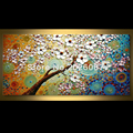 Hand Painted Landscape Abstract Palette Knife Blue Blossom Oil Painting Canvas Decoration Home Wall Living Room