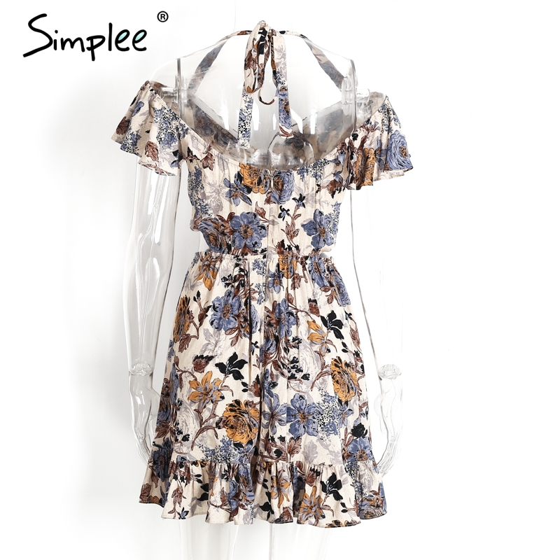 Simplee Halter off shoulder women summer dress Sexy hollow out short dress Elastic mini high waist floral print dress 2017