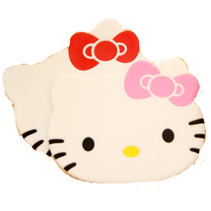 4pcs/Lot Hello Kitty Kitchen Accessories Silicone Coaster Red Pink Japanese Style kawaii Soft Silicone Mat Coasters For Cup Mug(China (Mainland))