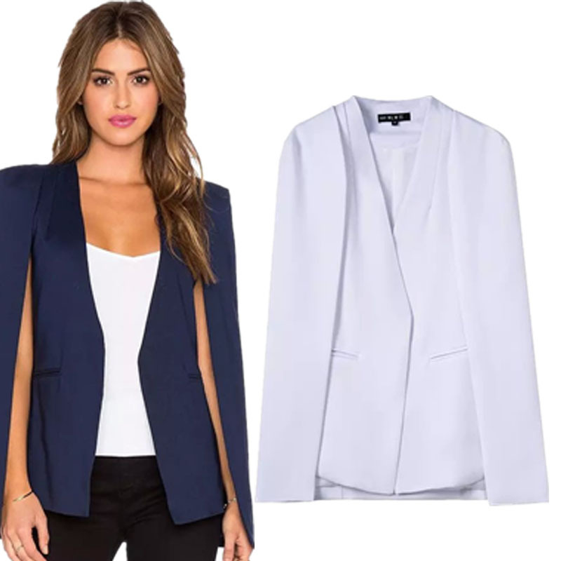2015 Fall New Fashion Women Cape Blazers And Jackets 2 Colors White / Dark Blue-in Blazers From ...