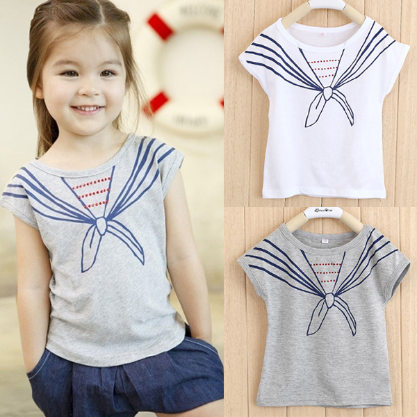 Kids Girls Baby Tops T Shirts Tie Print Navy Pattern Short Sleeve Clothes 1-5Y Free&amp;Drop Shipping<br><br>Aliexpress