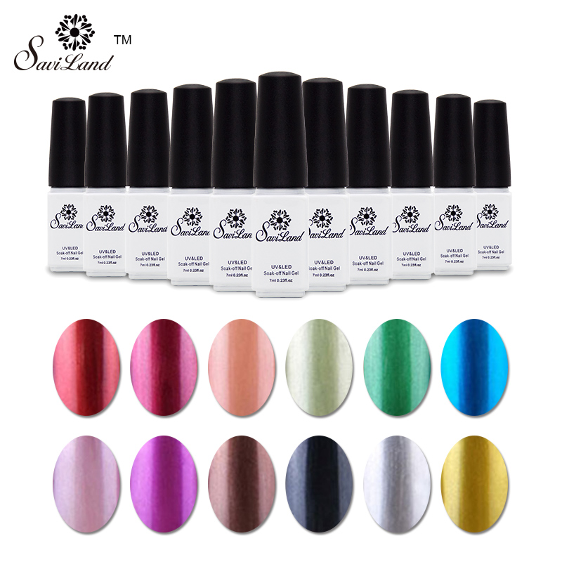Saviland 1pcs Metallic Nail Gel UV LED Gel 12 Colors Long-Lasting Soak Off Gel Nail Polish Hot Sale Shiny Nail Art Set