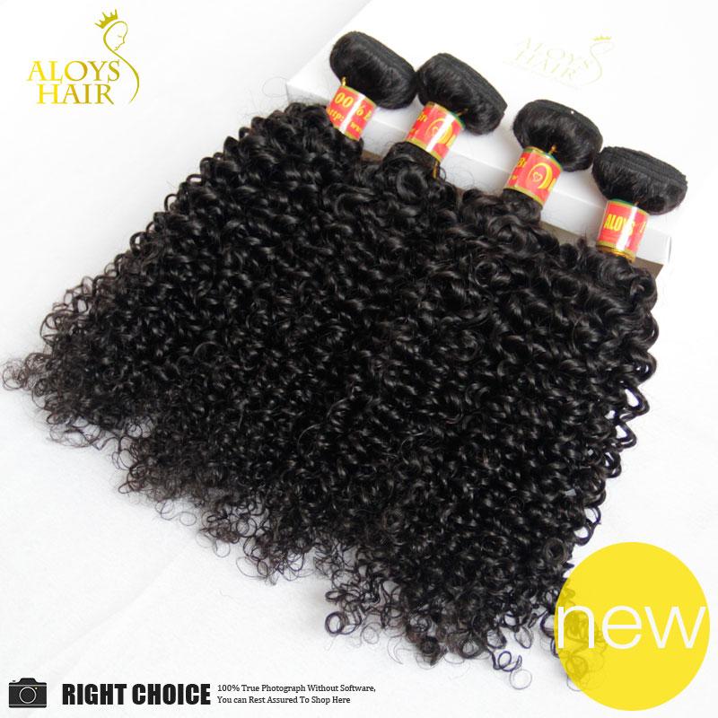 Гаджет  Brazilian Kinky Curly Virgin Hair Cheap Human Hair 4Pcs/Lot Curly Virgin Hair Products Human Weave Natural Black Color 1B   None Волосы и аксессуары