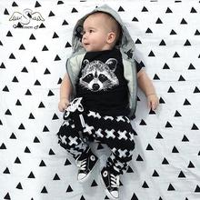 2016 summer new cotton short-sleeved suit baby infant baby cotton suit baby Set fox head