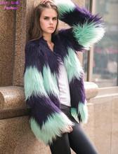 SUPER QUALITY Contrast Color Striped Hairy Shaggy Faux Sheep Goat Fur Women's O Neck Faux Fur Jackets Long Coat Outerwear(China (Mainland))