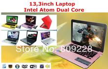 Free DHL Shipment 13,3inch Intel Atom D2500 1G DDR3 RAM 160G HDD Laptop with DVD-RW, Wifi,Camera, Bluetooth
