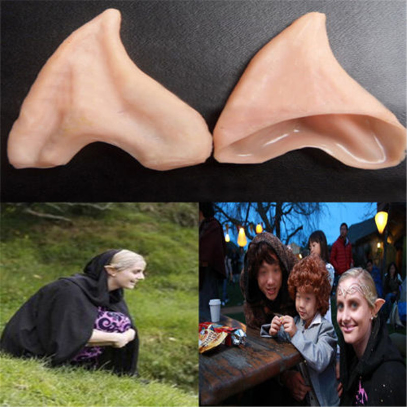 Latex Fairy Pixie Elf Ears Cosplay Accessories Halloween Party Latex Soft Pointed Prosthetic Tips Ear