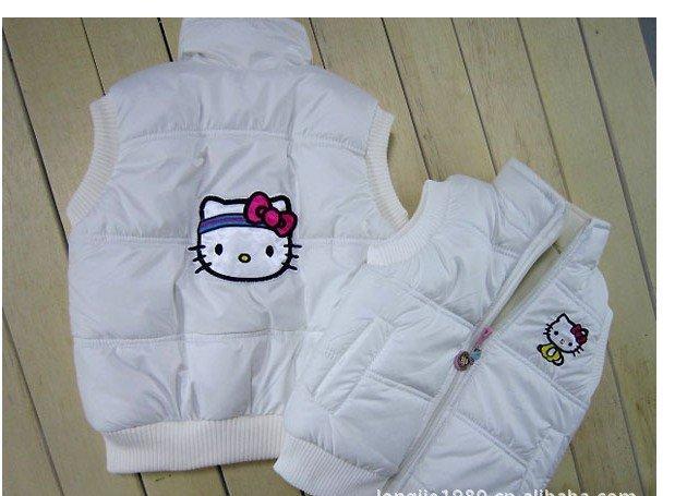 2012 children/kids/girls autumn and winter clothing vest vests outerwear coat coats Waistcoats cartoon kit-ty LJ 120621