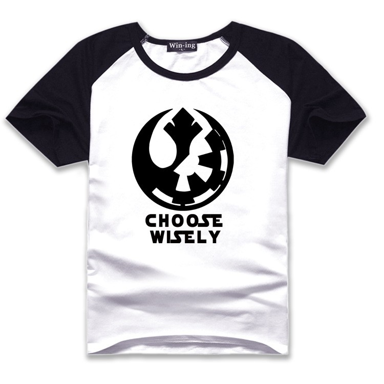 "New "" Choose Wisely "" Star Wars Galactic Empire Rebel Alliance Print T-shirt Cotton Unisex Sun Tee Shirts Teen Loose Homme Tops  HTB1Yx3RLVXXXXaHXXXXq6xXFXXX1"