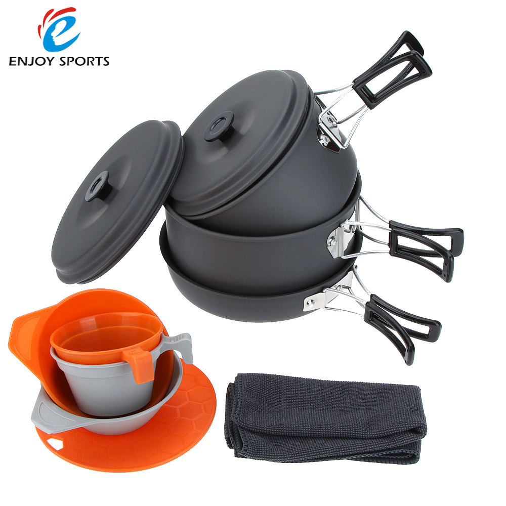 3-4 People Portable Camping Pots+Pan+Bowls+Cups+Cutting Board Picnic Outdoor Cooking Cookware Set Aluminum(China (Mainland))
