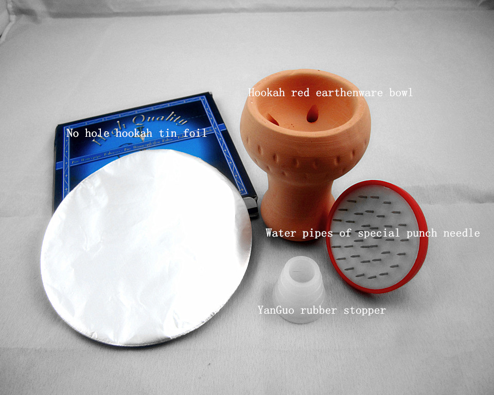 1 Hookah red earthenware bowl1 water pipes of special punch needle1 YanGuo rubber stopper1 no hole hookah tin foil Free Shipping(China (Mainland))