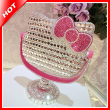 Hello Kitty Hand Crafted Rhinestone Makeup Mirror Lovely Gift Cosmetics Mirror For Girl Desktop Beauty Dress Make-up Mirror(China (Mainland))