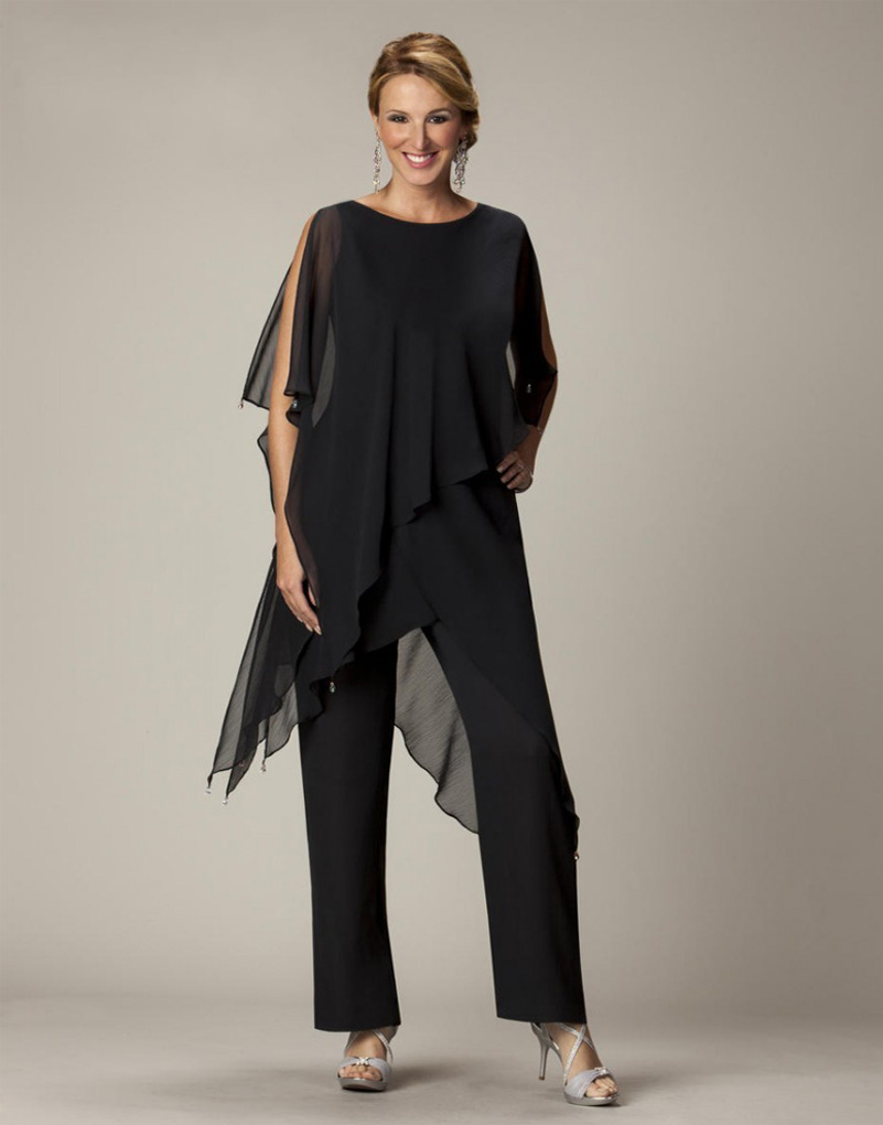 Black chiffon mother of the bride pant suit bride goom for Dress pant suits for weddings plus size