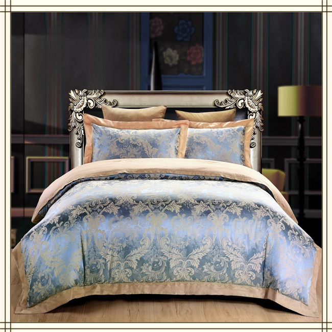 Buy Blue Peacock Feather Print Silk Bedding Set Satin