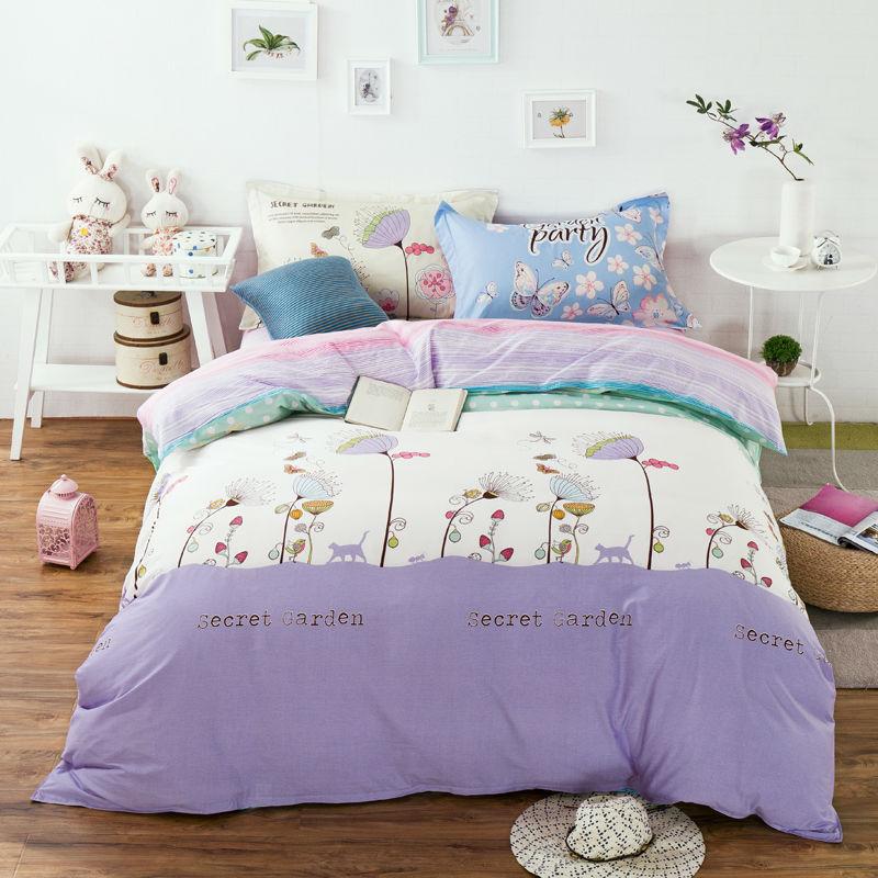 Cute floral border light purple bedding sets linens cotton - Light purple comforter set ...