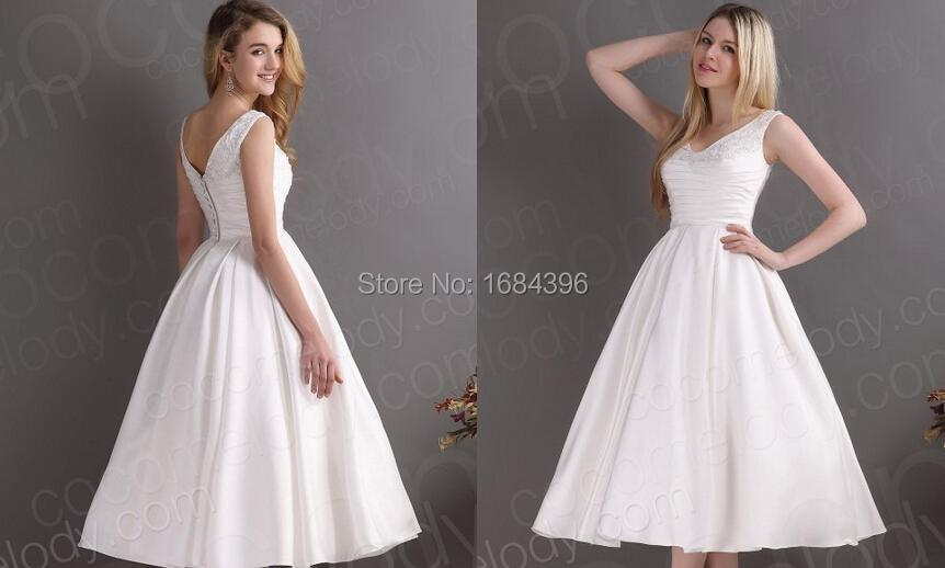 2015 new style vintage wedding dresses A-line V-neck women dress knee length sleeveless vestidos de novia 2M184 - ebelz forever store