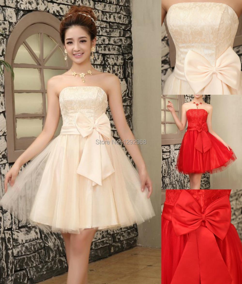 Cheap!New big bow bridesmaid dresses 4 colors mini dresses, Graduation Dresses party dress knee - CX SHINE Wed Store store