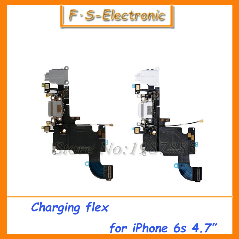 10pcs/lot i6s White Black Charging Port USB Connector Dock Headphone Audio Jack Flex Cable Replacement For iPhone 6S 4.7'' inch(China (Mainland))