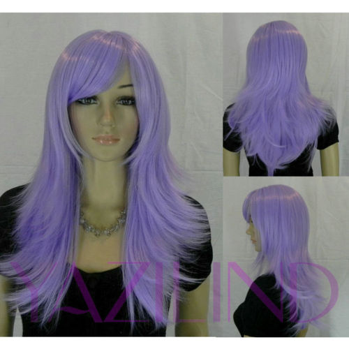long lavender purple straight layered hair full halloween