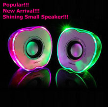New Arrival Shining Aple Shape Portable USB Mini Stereo Wired Notebook Desktop Computer Speaker