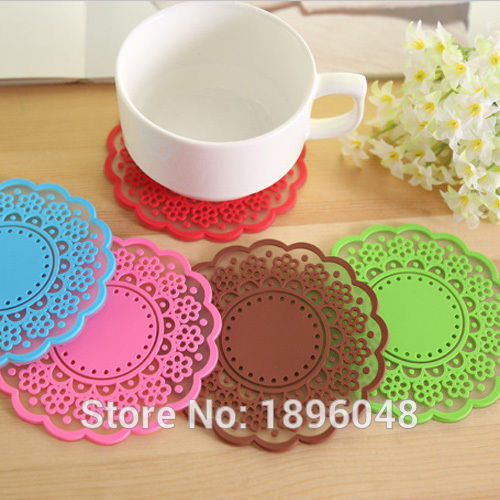 2016 Hot Sale Round Flowers Candy Color Heat Insulation Silicone Coaster Pad Cup Holder(China (Mainland))