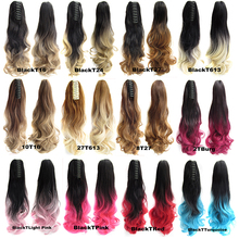 22″ 170g Synthetic Claw Ponytail Clip In On Hair Extension Wavy Curly Style Ombre Two Tone Pony Tail Hair Pieces 12 Colors