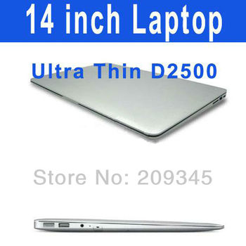 14 inch Dual Core Netbook Intel Atom D2500 Dual core Laptop 250GB 320GB HDD 2G DDR3 Ultra thin Windows 7 Notebook PC