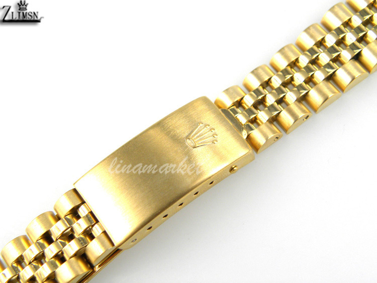 17mm NEW High Quality Pure Solid 316L Curved end Gold Plated Stainless steel Watch Bands Bracelets Used for S-ROL203g<br><br>Aliexpress