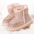 2016 winter kids snow boots brand print G boots genuine leather children shoes fur boots warm winter brown beige black 21-33