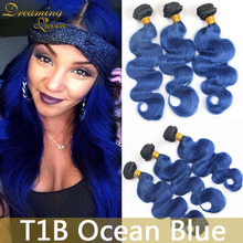 Buy 8A Top 3 Pcs of Brazilian Ombre Body Wave Blue Hair Extensions 1B/Blue Human Hair Weave Cheap 100% Unprocessed Remy Hair Bundles for $126.00 in AliExpress store