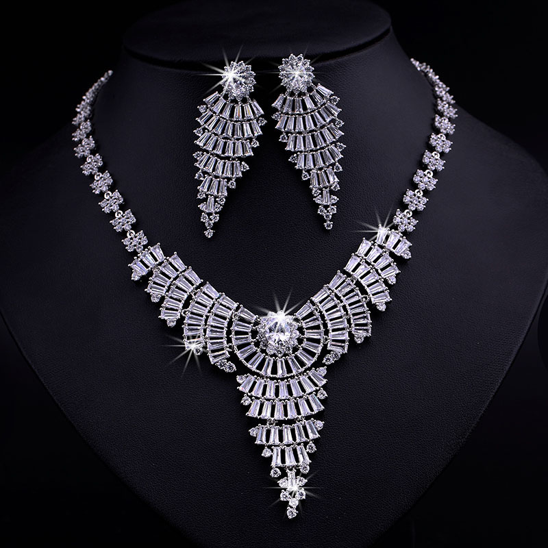 Bella Luxury White/Dark Blue Cubic Zircon Diamond Earrings Necklace Platinum Plated Party Jewelry Sets Elegant Women
