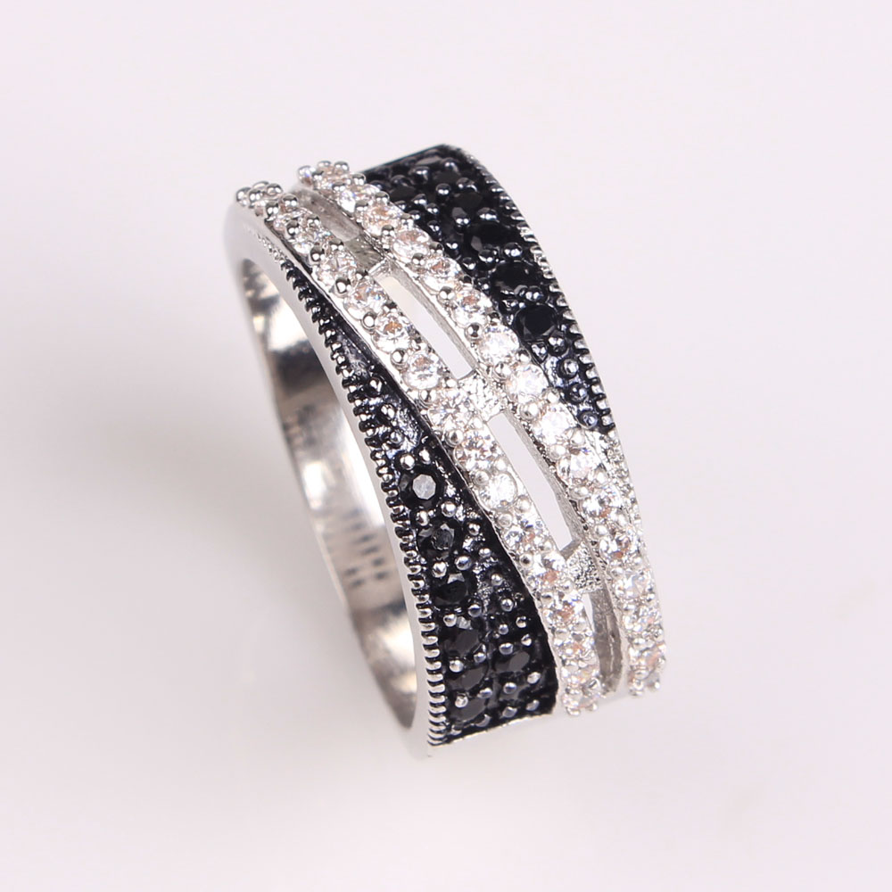 2017 women black zirconia wedding ring platinum plated With wedding rings for women 2017