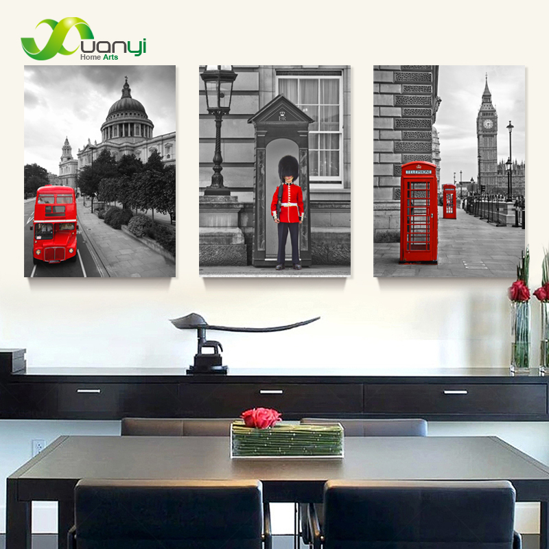3 panel modern printed london city wall painting canvas for Home decorations london