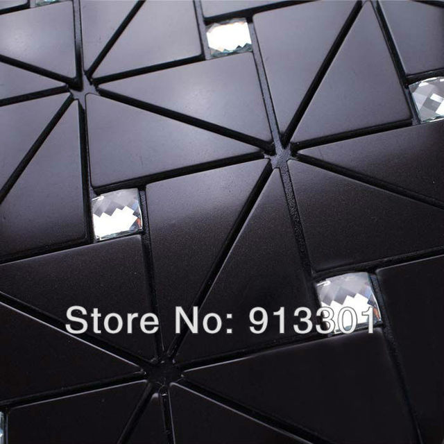 Negro pegatinas de pared de mosaico backsplash de la cocina diamon ...