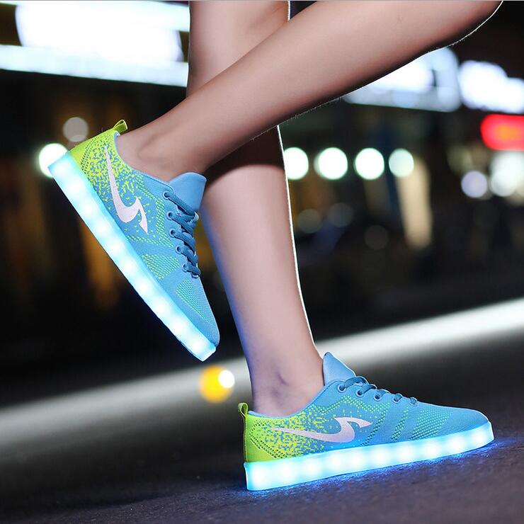 fashion 7 color led shoes for adults unisex basket femme light shoes women christmas shoes different with others in mens casual shoes from shoes on - Basket Femme Color