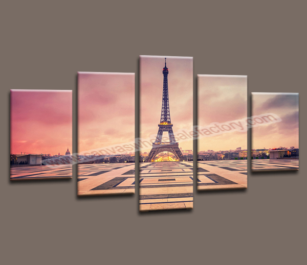 Unstretched home decor 5 canvas wall art painting paris for Paris wall art