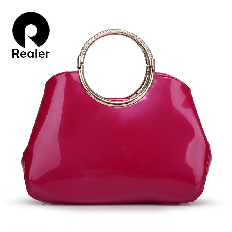 Vintage women bags red blue patent leather handbags ladies handbag clutch women large tote bag bolsas de marca(China (Mainland))