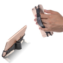 TFY Security Hand Strap with Leather Belt Holder Stand for iPhones, Samsung Phones and Others – Works with or without Case