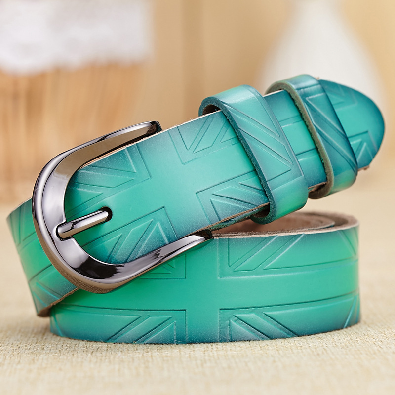 Fashion green UK flag printed women's belt high quality genuine leather bags ladies ceinture femme 4 colors(China (Mainland))