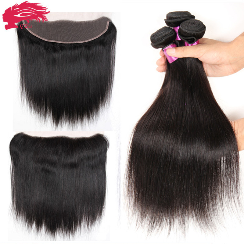 Full Frontal Lace Closure 13x4 With Bundles 4pcs/lot Full Lace Frontal and Bundle Hair Brazilian Straight Hair With Closure HC<br><br>Aliexpress
