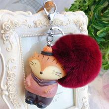 Unicórnio bonito Coelho Engraçado Expressão Chaveiro BB Animais Chaveiros Mulheres Saco Anel Chave Charme Chaveiro De Pele de Coelho Pompom Fofo(China)