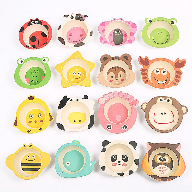 Affordable security Cartoon plate tableware child dishware Bamboo fiber infant and baby feeding dish kid dinner bowl