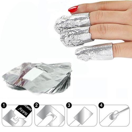 Gel nail removal tin foil
